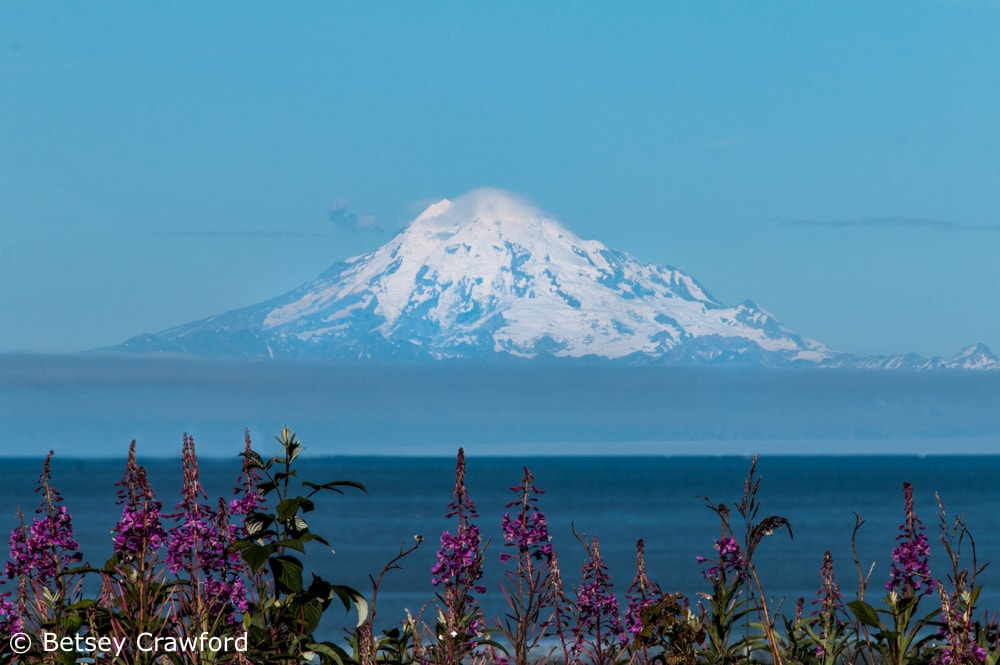 Mount Redoubt, an active volcano, seen from Kenai
