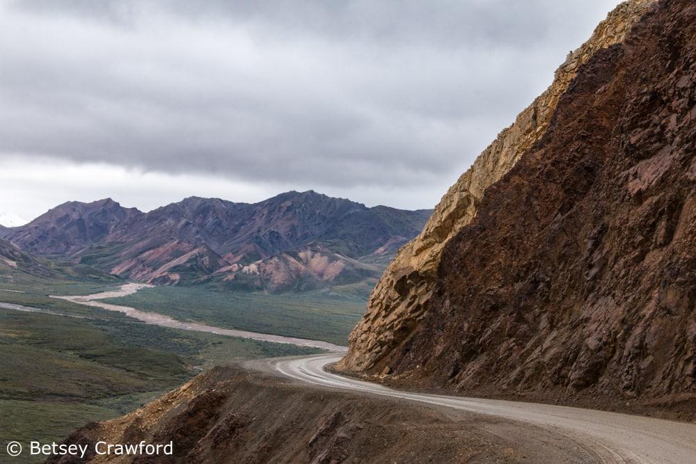 The sometimes hair raising road through Denali National Park