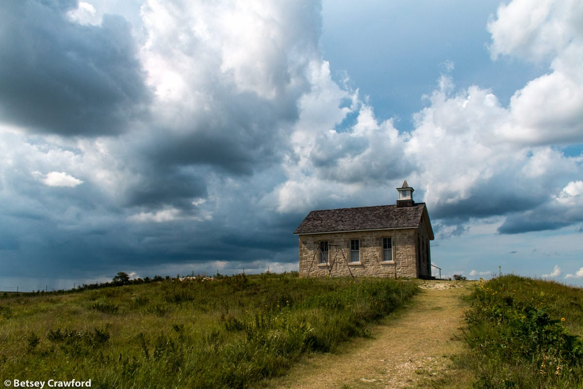 Old schoolhouse in the Tallgrass Prairie National Preserve in the Flint Hills in central Kansas