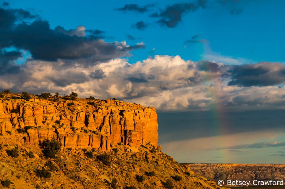 Butler Wash with a rainbow near Bluff, Utah by Betsey Crawford