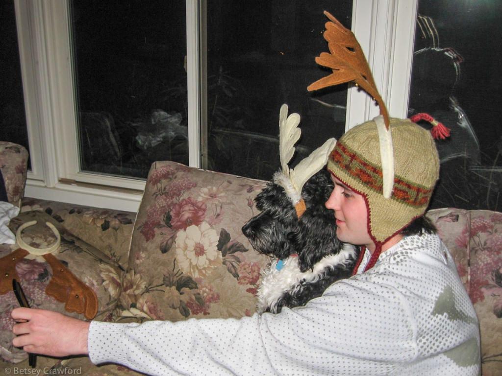 Splash & Luke reindeer selfie