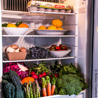 A refrigerator full of vegetables incorporates 36 Drawdown solutions. Photo by Betsey Crawford