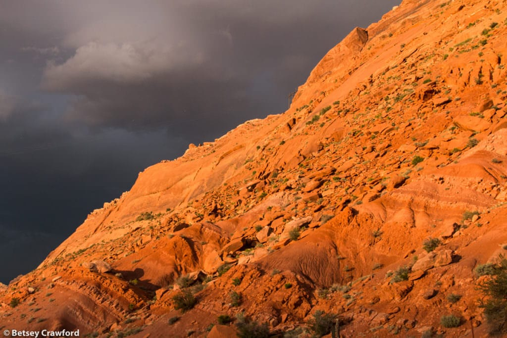 Storm coming along roadside in southeastern Utah by Betsey Crawford