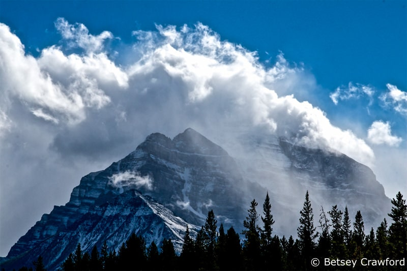A Rocky Mountain peak south of Lake Louise, Alberta by Betsey Crawford