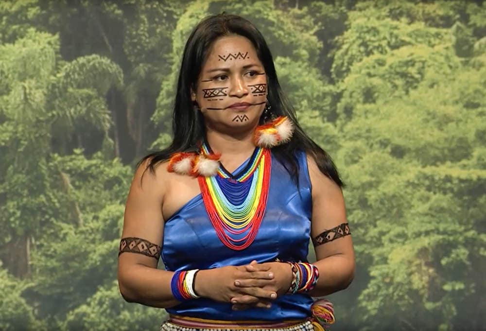 Narcisa Mashiento at the Pachamama Alliance annual luncheon in 2017