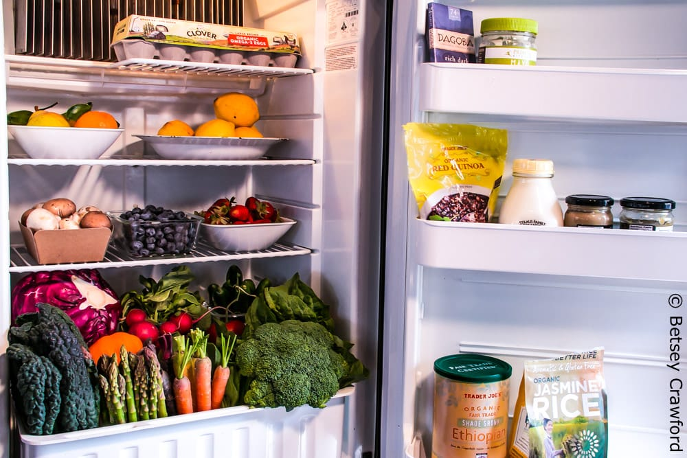 A refrigerator full of vegetables incorporates 36 Project Drawdown solutions. Photo by Betsey Crawford