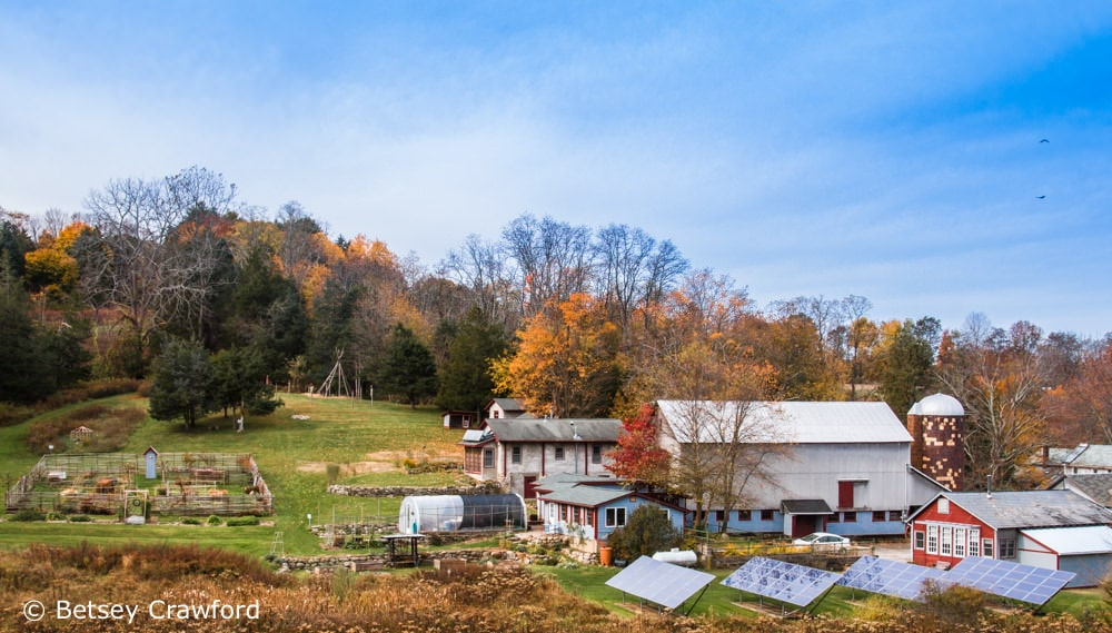 Genesis Farm in Blairstown, New Jersey is full of Project Drawdown solutions, including the array of solar panels in the lower right. Photo by Betsey Crawford