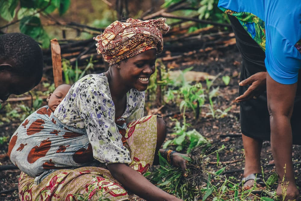 Women grow 70% of the food worldwide, mostly on small farms. But women smallholders don't have the same access to resources and rights. With that access, their yield would rise by up to 30%, limiting the drive for deforestation for more land. Photo by Annie Sprat.