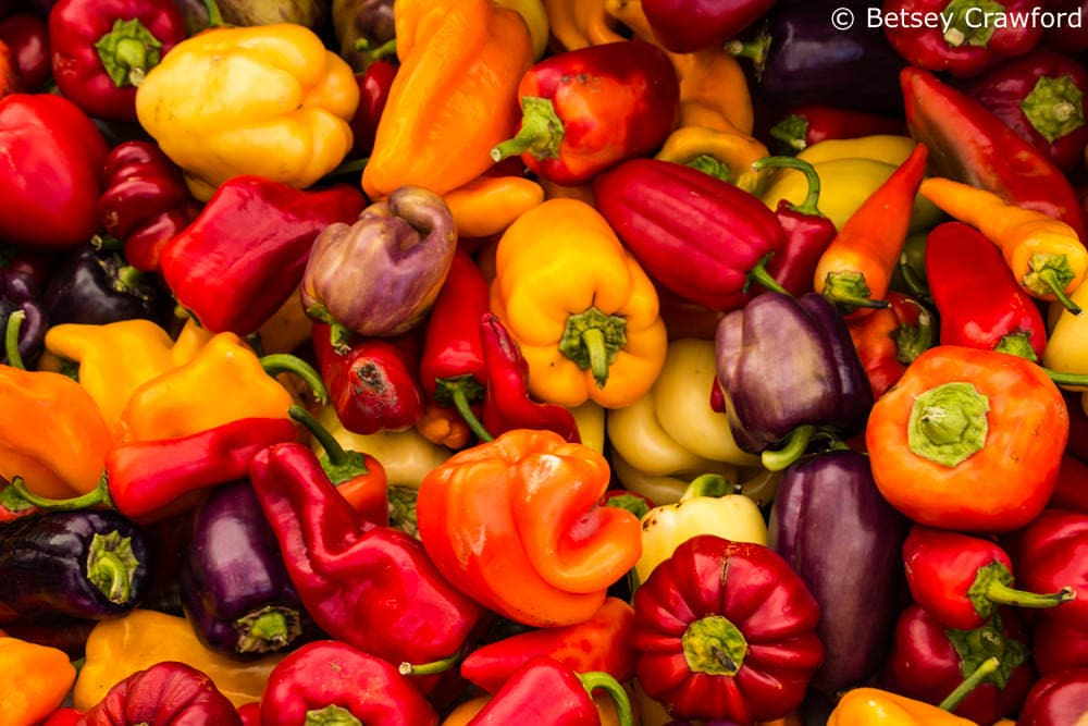 Vivid peppers at the San Rafael farmers market, San Rafael, California by Betsey Crawford
