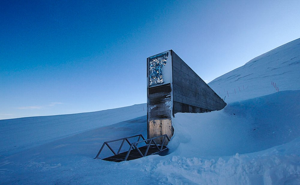 Entrance to Svalbard Seed Bank. Photo by Einar Jorgen Haraldseid via Creative Commons