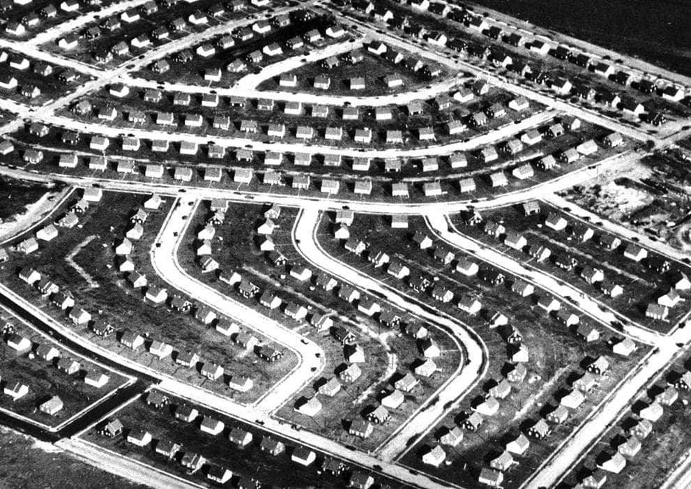The archetypal post World War 2 suburb: Levittown, New York. Photo by Mark Mathosian via Flickr