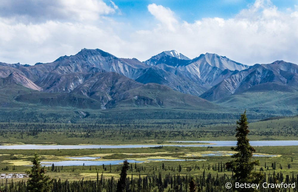 Mountains, lakes, and bogs in the Matsu Valley, Alaska by Betsey Crawford