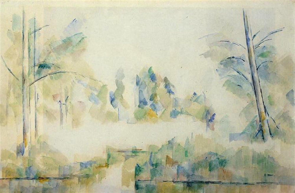 Trees by the Water by Paul Cezanne (1900) Watercolor on paper. Private collection.